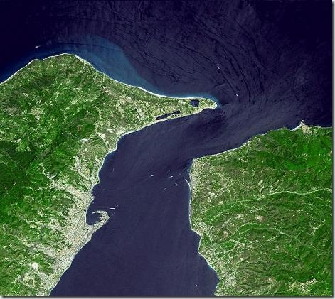 The straits of messina satellite imagery